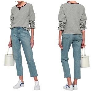 Rebecca Minkoff | Gray Striped Cropped Sweatshirt